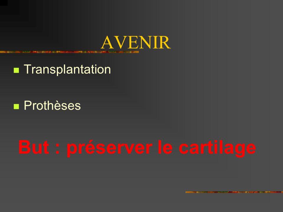 AVENIR Transplantation Prothèses But : préserver le cartilage