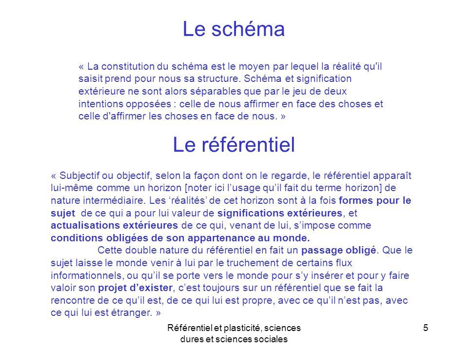 Référentiel et plasticité, sciences dures et sciences sociales 5 « La constitution du schéma est le moyen par lequel la réalité qu'il saisit prend pou