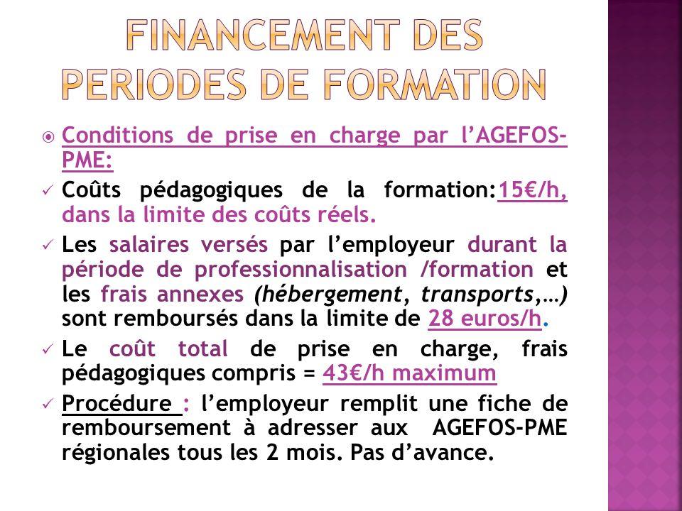 Conditions de prise en charge par lAGEFOS- PME: Coûts pédagogiques de la formation:15/h, dans la limite des coûts réels.