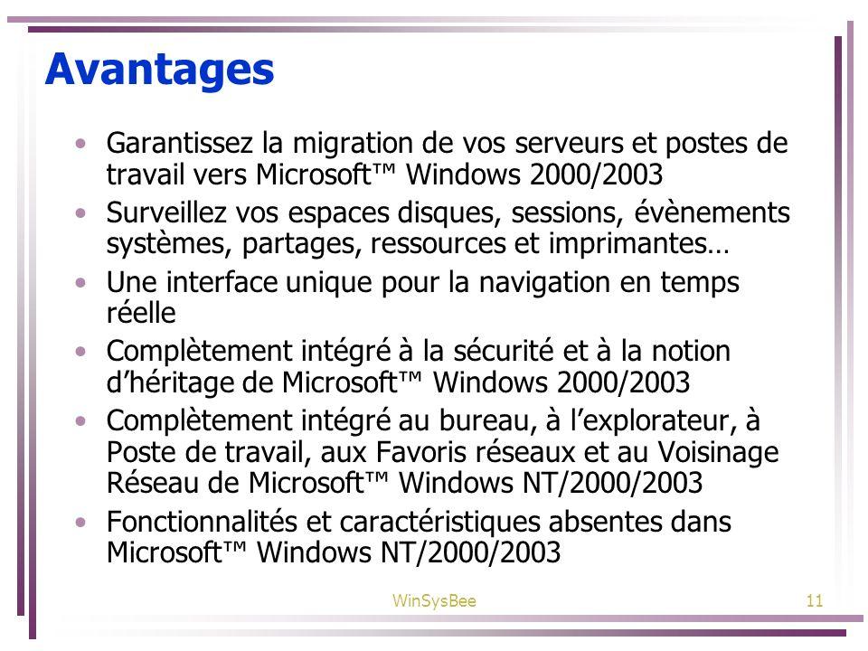 WinSysBee11 Avantages Garantissez la migration de vos serveurs et postes de travail vers Microsoft Windows 2000/2003 Surveillez vos espaces disques, s