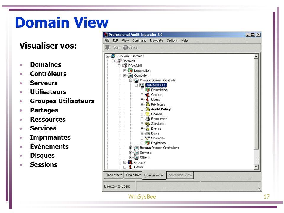WinSysBee17 Domain View Visualiser vos: Domaines Contrôleurs Serveurs Utilisateurs Groupes Utilisateurs Partages Ressources Services Imprimantes Évène