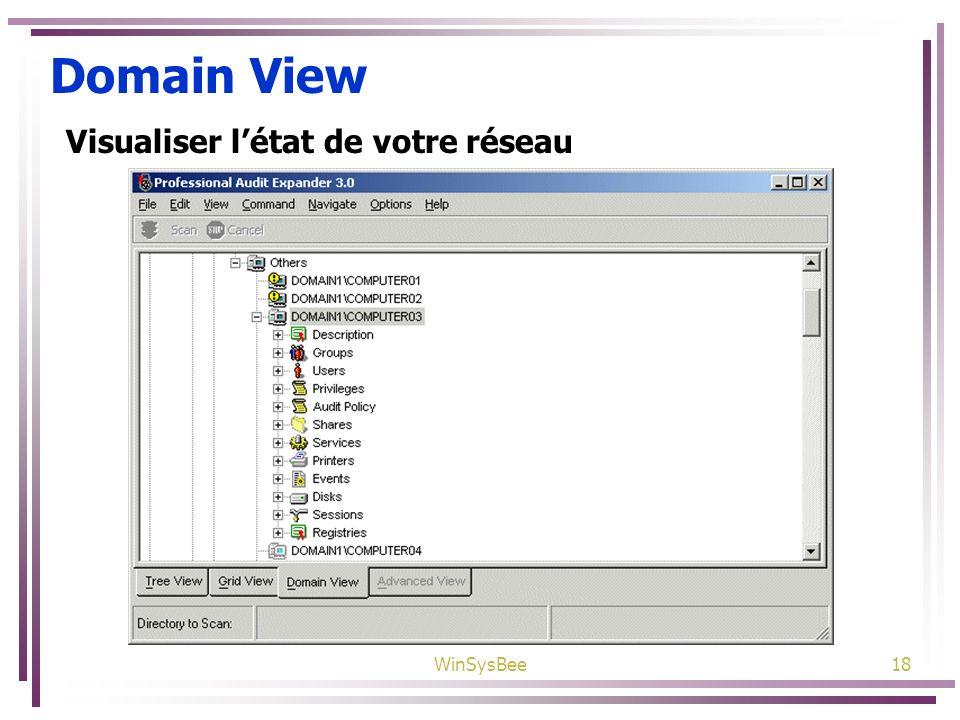 WinSysBee18 Domain View Visualiser létat de votre réseau