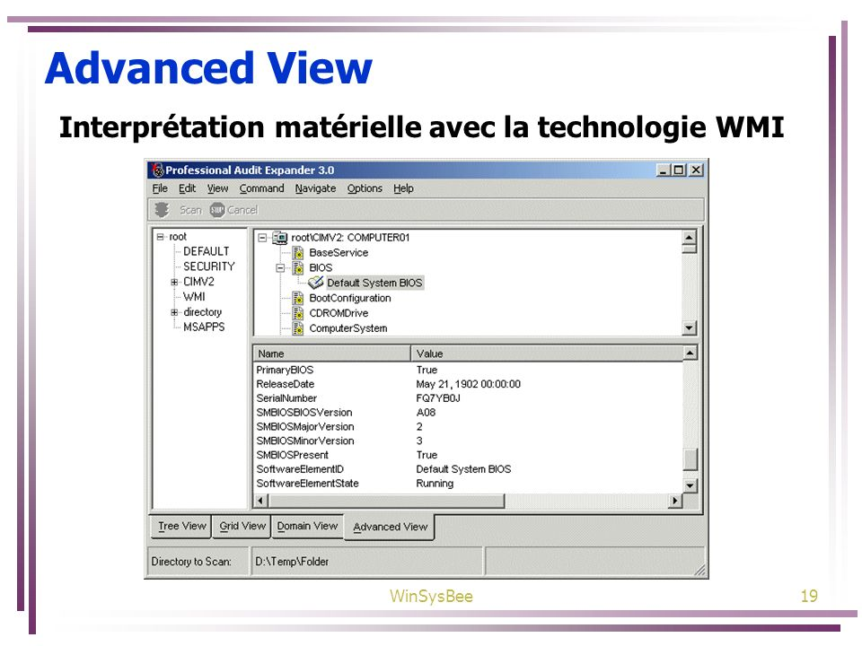 WinSysBee19 Advanced View Interprétation matérielle avec la technologie WMI