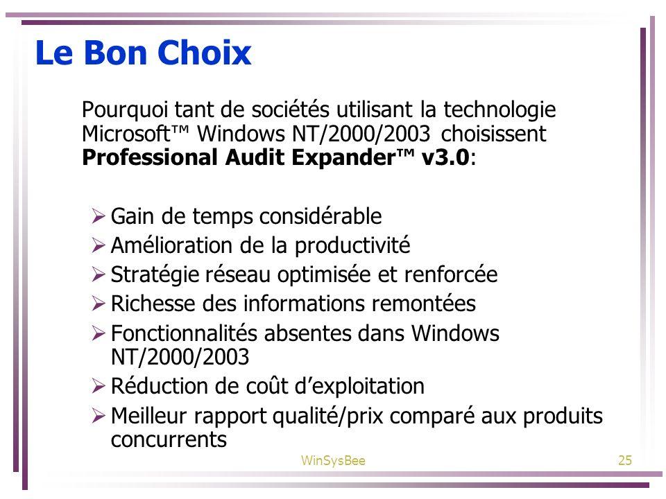 WinSysBee25 Le Bon Choix Pourquoi tant de sociétés utilisant la technologie Microsoft Windows NT/2000/2003 choisissent Professional Audit Expander v3.