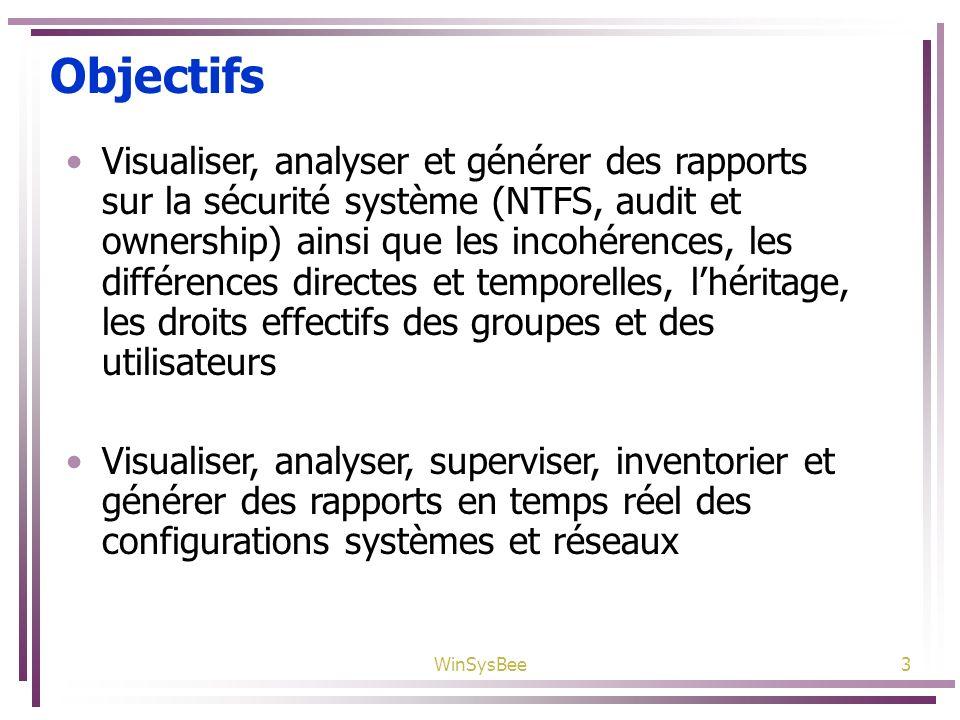 WinSysBee3 Objectifs Visualiser, analyser et générer des rapports sur la sécurité système (NTFS, audit et ownership) ainsi que les incohérences, les d