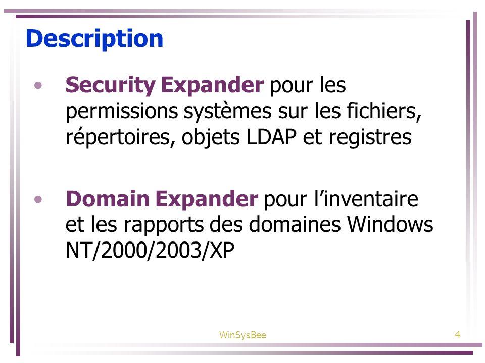 WinSysBee4 Description Security Expander pour les permissions systèmes sur les fichiers, répertoires, objets LDAP et registres Domain Expander pour li