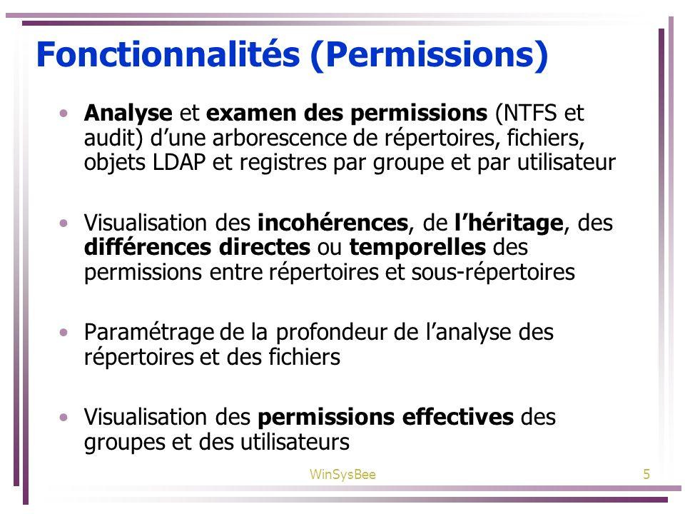WinSysBee5 Fonctionnalités (Permissions) Analyse et examen des permissions (NTFS et audit) dune arborescence de répertoires, fichiers, objets LDAP et