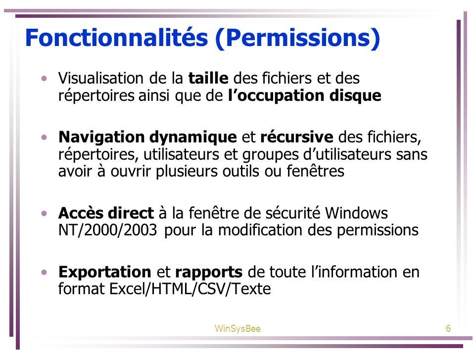 WinSysBee6 Fonctionnalités (Permissions) Visualisation de la taille des fichiers et des répertoires ainsi que de loccupation disque Navigation dynamiq