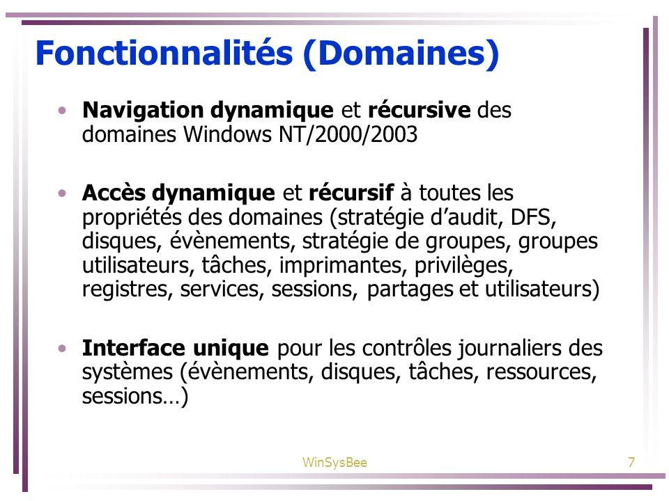 WinSysBee7 Fonctionnalités (Domaines) Navigation dynamique et récursive des domaines Windows NT/2000/2003 Accès dynamique et récursif à toutes les pro