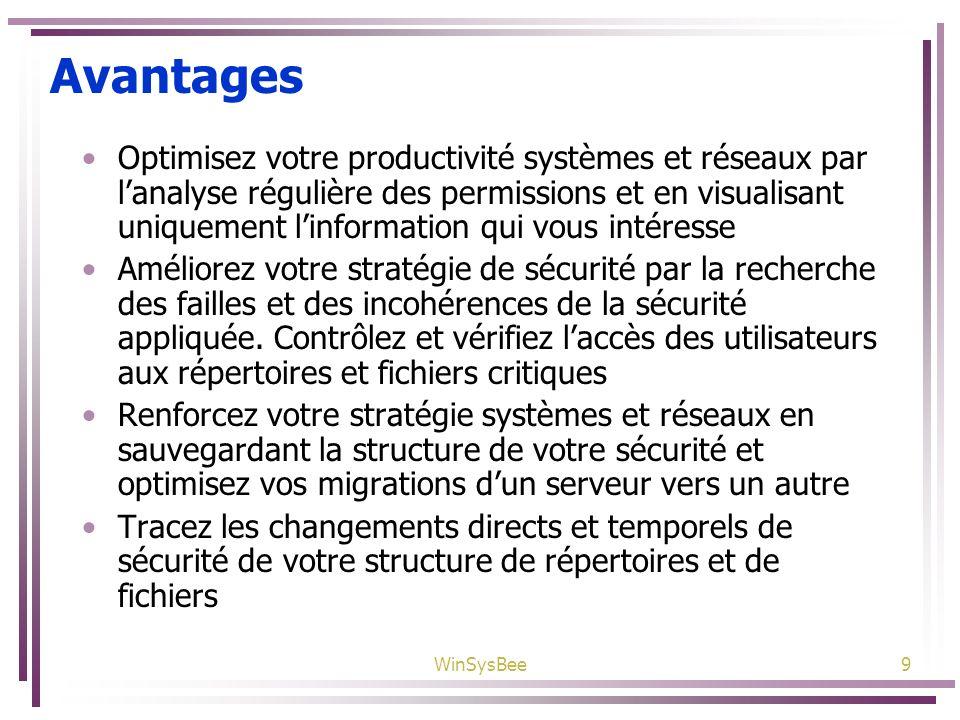 WinSysBee9 Avantages Optimisez votre productivité systèmes et réseaux par lanalyse régulière des permissions et en visualisant uniquement linformation