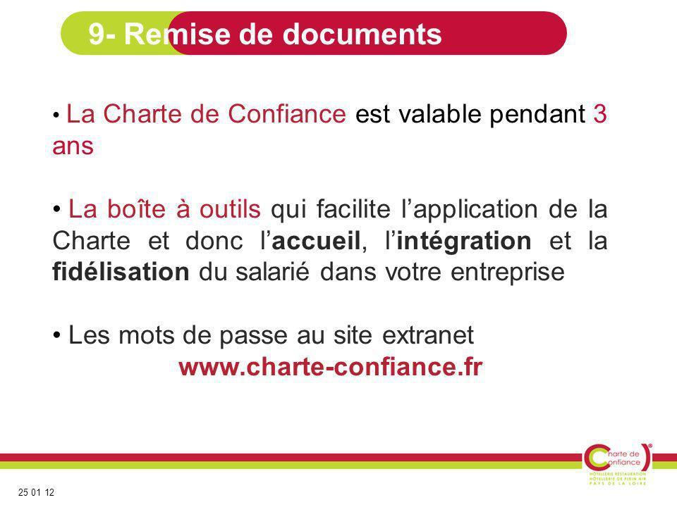 25 01 12 La Charte de Confiance est valable pendant 3 ans La boîte à outils qui facilite lapplication de la Charte et donc laccueil, lintégration et l