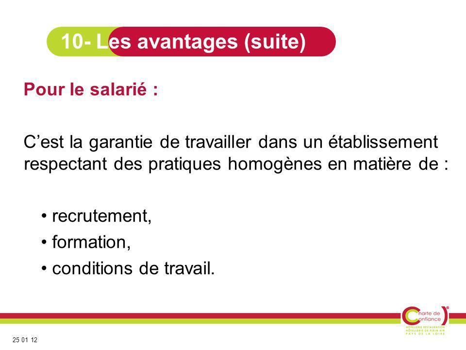 25 01 12 Pour le salarié : Cest la garantie de travailler dans un établissement respectant des pratiques homogènes en matière de : recrutement, format