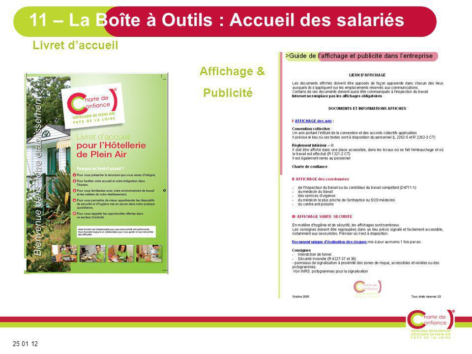 25 01 12 Livret daccueil Affichage & Publicité 11 – La Boîte à Outils : Accueil des salariés