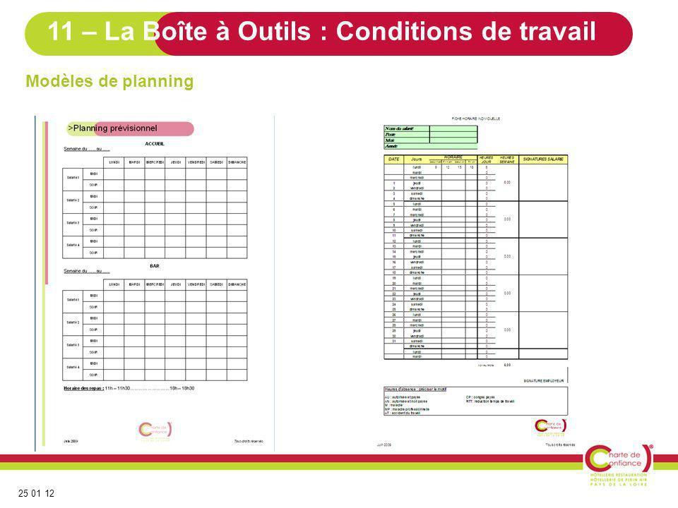 25 01 12 Modèles de planning 11 – La Boîte à Outils : Conditions de travail