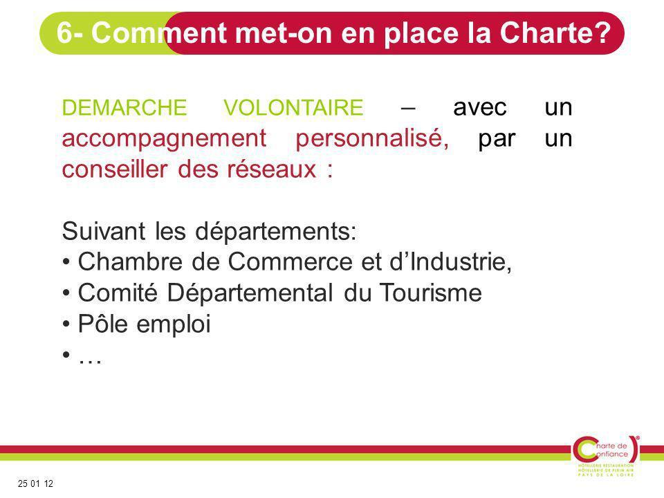 25 01 12 Chaque « Conseiller » de la Charte de Confiance accompagne les professionnels au cours de 1 à 3 rendez-vous.