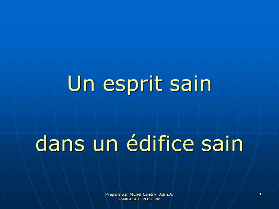 Preparé par Michel Landry, Adm.A. SANIGESCO PLUS Inc. 18 Un esprit sain dans un édifice sain