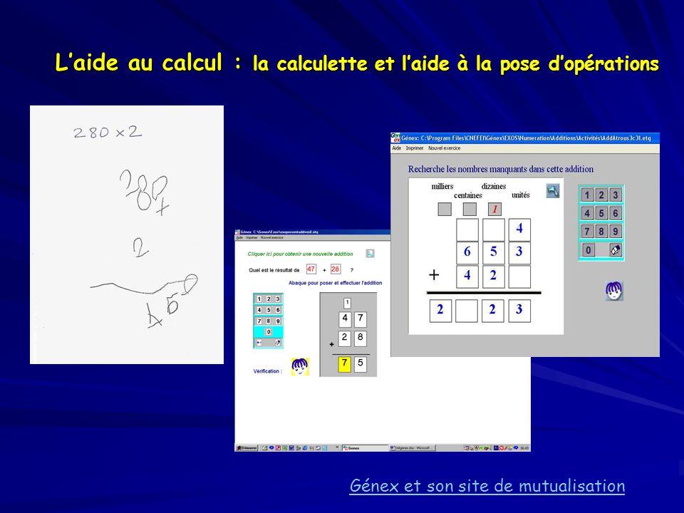 Laide au calcul : la calculette et laide à la pose dopérations Génex et son site de mutualisation