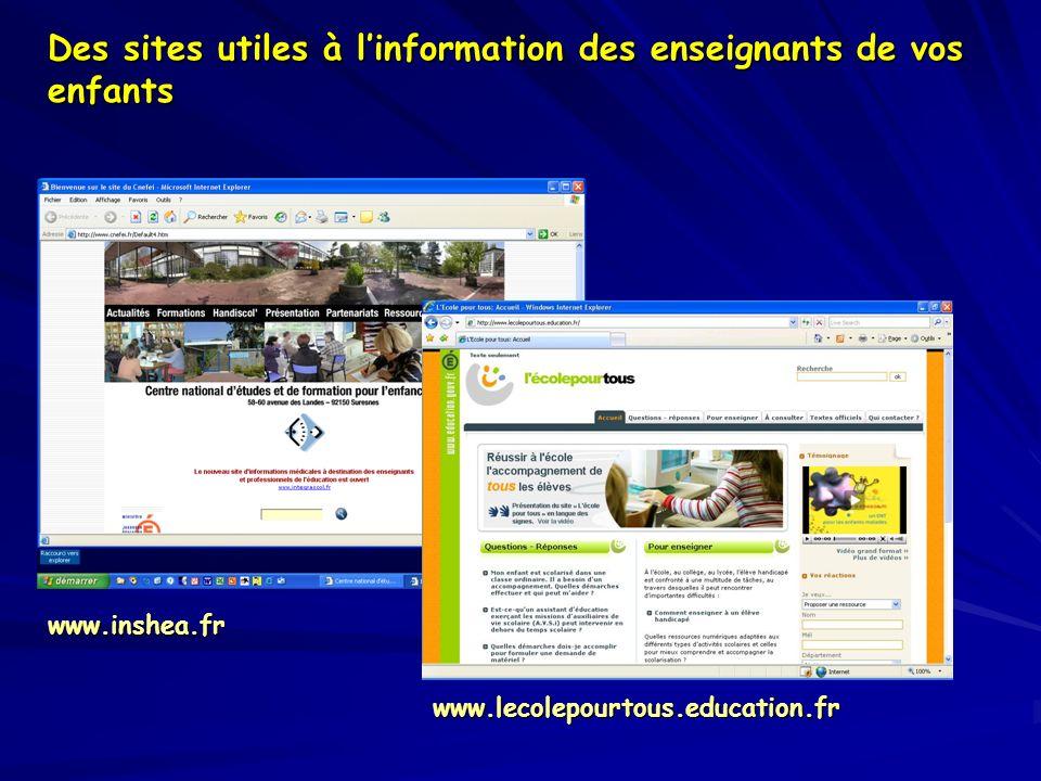 Des sites utiles à linformation des enseignants de vos enfants www.inshea.fr www.lecolepourtous.education.fr