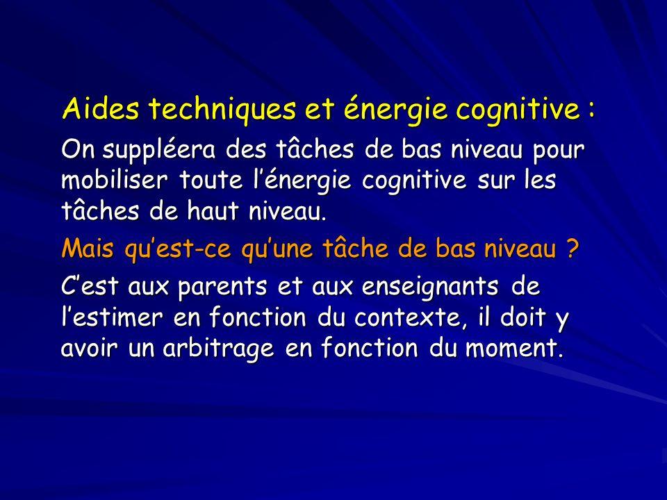 Aides techniques et énergie cognitive : On suppléera des tâches de bas niveau pour mobiliser toute lénergie cognitive sur les tâches de haut niveau.