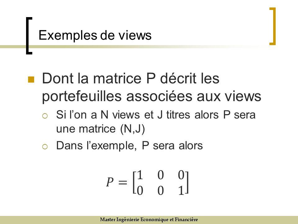 Exemples de views Dont la matrice P décrit les portefeuilles associées aux views Si lon a N views et J titres alors P sera une matrice (N,J) Dans lexe