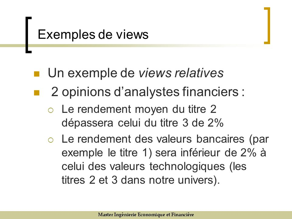 Exemples de views Un exemple de views relatives 2 opinions danalystes financiers : Le rendement moyen du titre 2 dépassera celui du titre 3 de 2% Le r