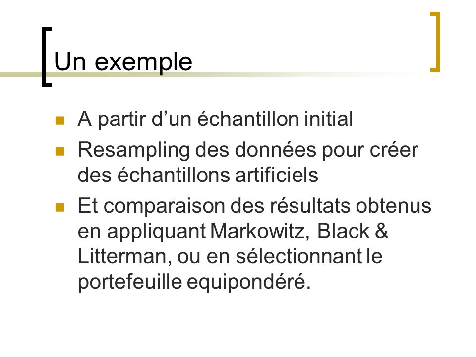Un exemple A partir dun échantillon initial Resampling des données pour créer des échantillons artificiels Et comparaison des résultats obtenus en app