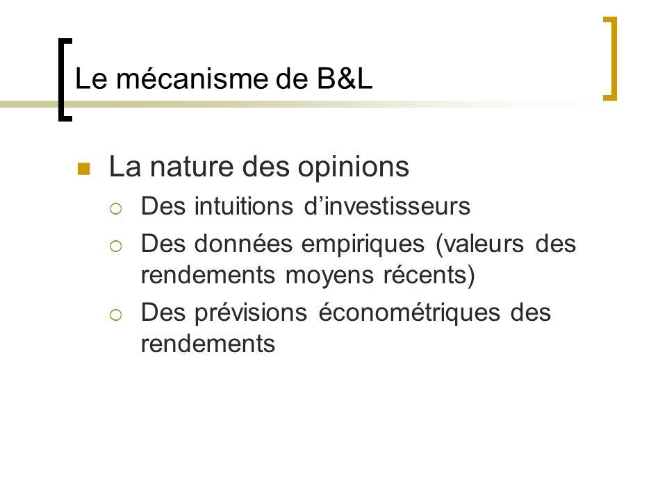 Le mécanisme de B&L La nature des opinions Des intuitions dinvestisseurs Des données empiriques (valeurs des rendements moyens récents) Des prévisions