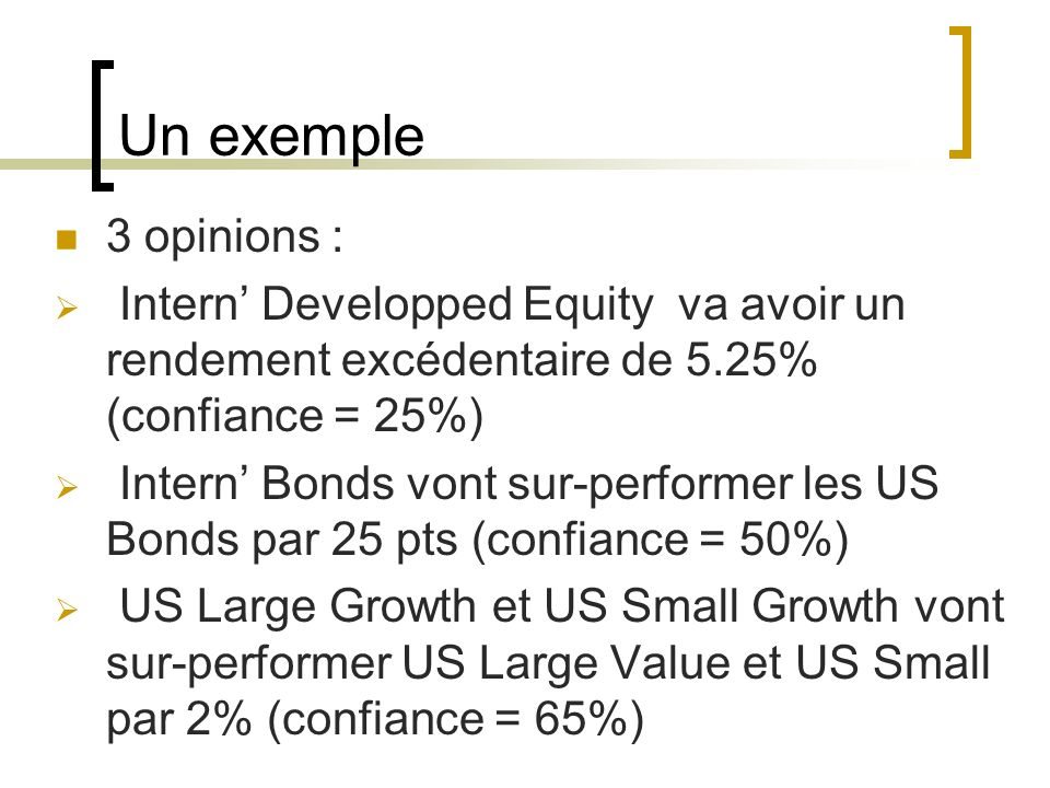 Un exemple 3 opinions : Intern Developped Equity va avoir un rendement excédentaire de 5.25% (confiance = 25%) Intern Bonds vont sur-performer les US