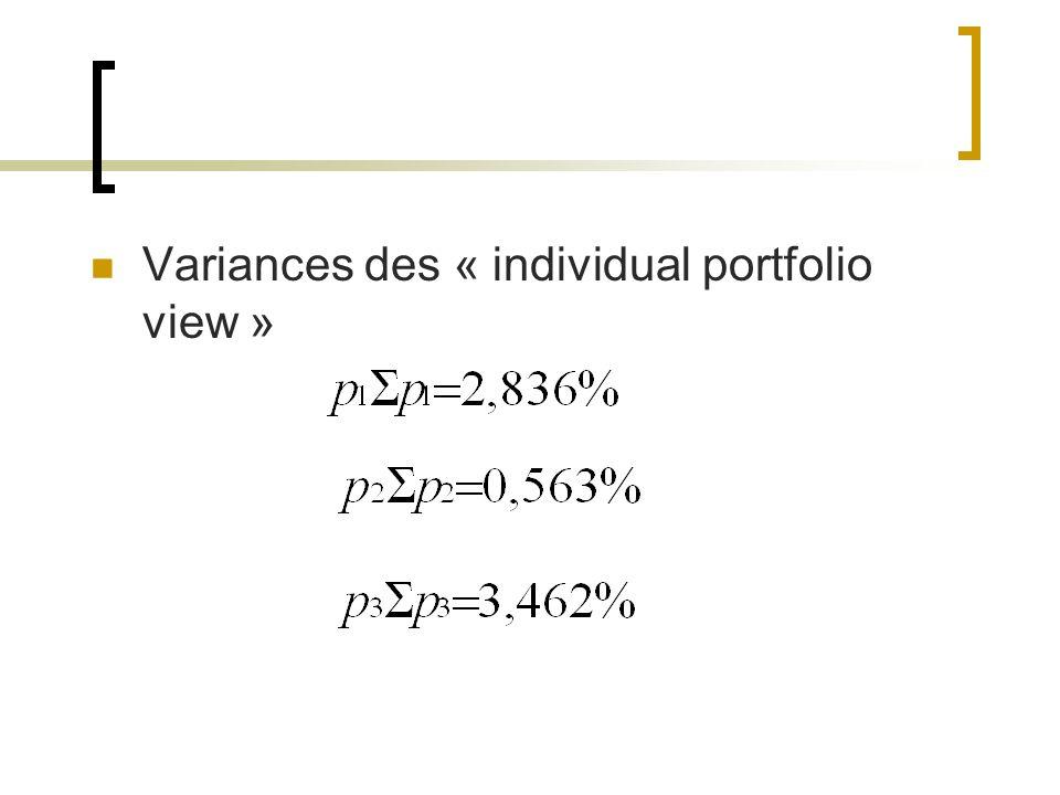 Variances des « individual portfolio view »