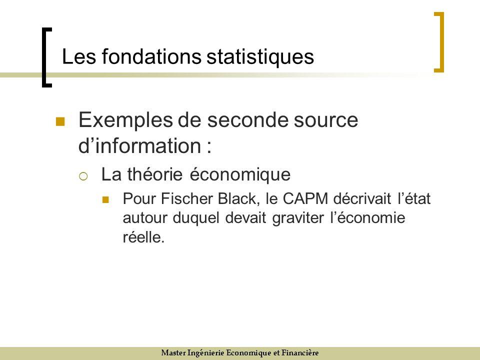 Les fondations statistiques Exemples de seconde source dinformation : La théorie économique Pour Fischer Black, le CAPM décrivait létat autour duquel