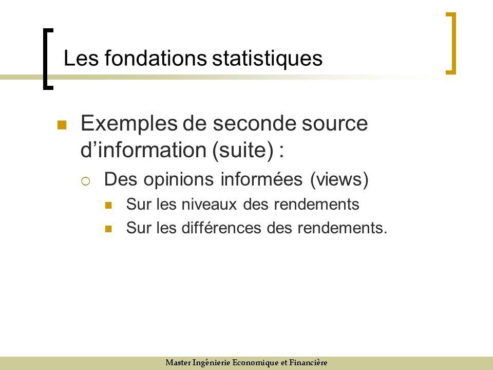 Les fondations statistiques Exemples de seconde source dinformation (suite) : Des opinions informées (views) Sur les niveaux des rendements Sur les di