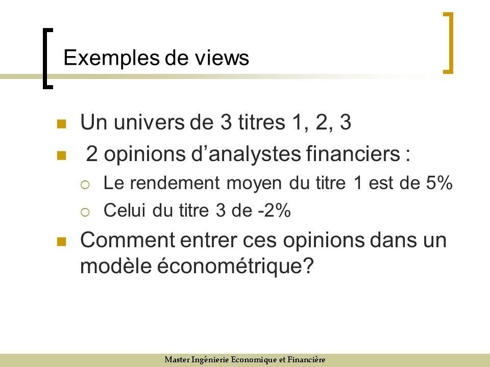 Exemples de views Un univers de 3 titres 1, 2, 3 2 opinions danalystes financiers : Le rendement moyen du titre 1 est de 5% Celui du titre 3 de -2% Co