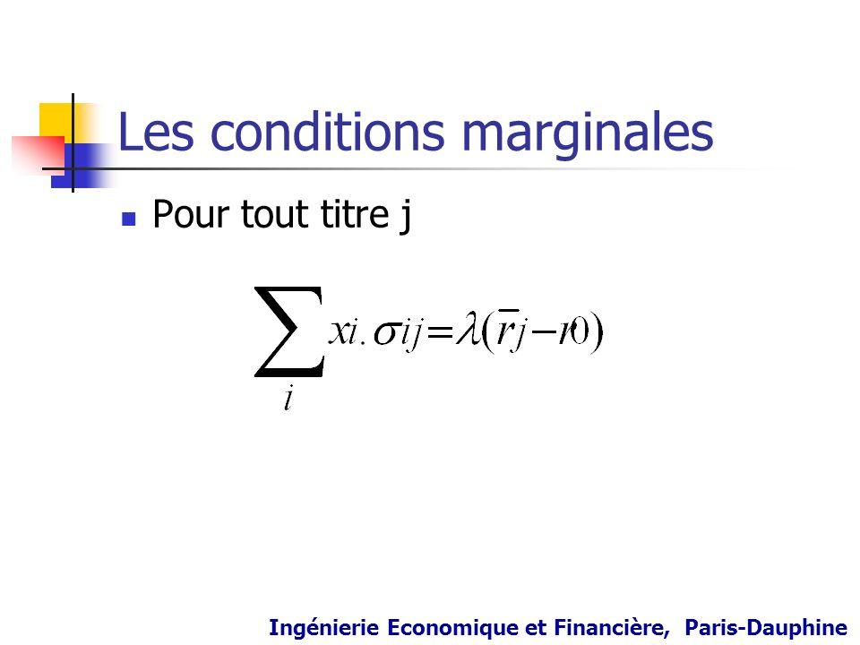 Les conditions marginales Pour tout titre j Ingénierie Economique et Financière, Paris-Dauphine