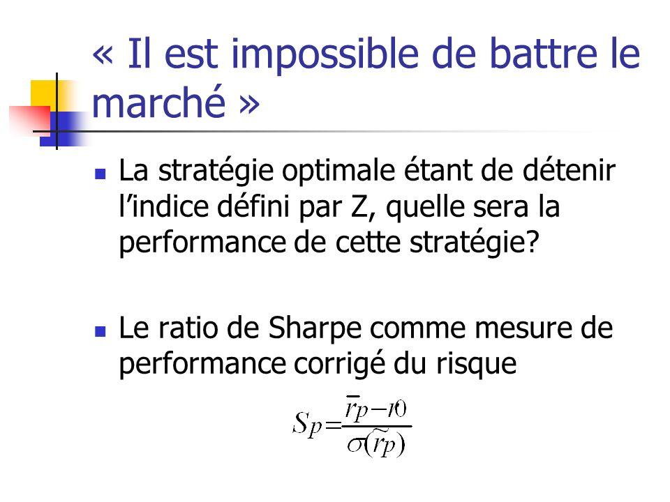 « Il est impossible de battre le marché » La stratégie optimale étant de détenir lindice défini par Z, quelle sera la performance de cette stratégie?