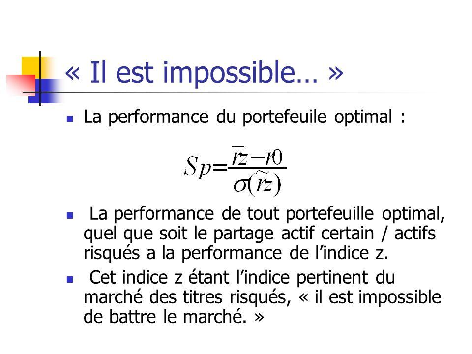 « Il est impossible… » La performance du portefeuile optimal : La performance de tout portefeuille optimal, quel que soit le partage actif certain / a