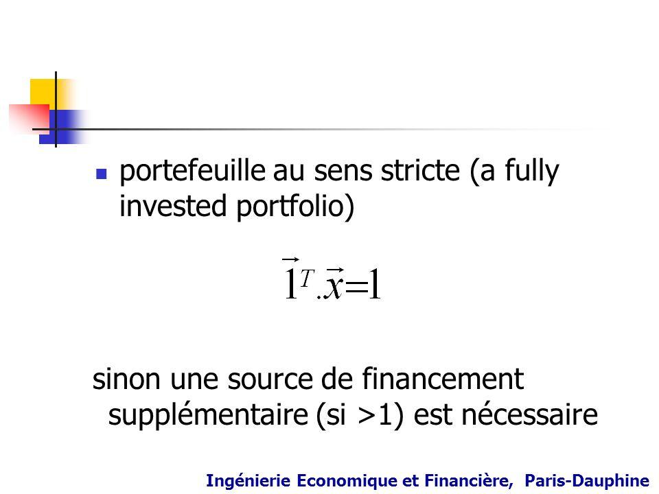 portefeuille au sens stricte (a fully invested portfolio) sinon une source de financement supplémentaire (si >1) est nécessaire Ingénierie Economique