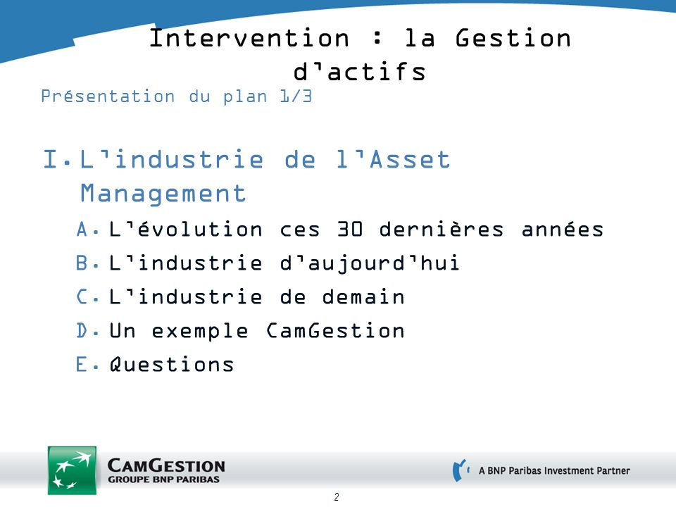 2 Intervention : la Gestion dactifs Présentation du plan 1/3 I.Lindustrie de lAsset Management A.Lévolution ces 30 dernières années B.Lindustrie daujo