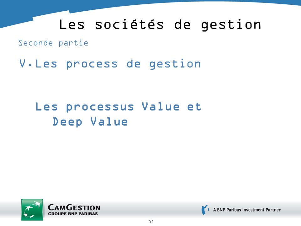 51 Les sociétés de gestion Seconde partie V.Les process de gestion Les processus Value et Deep Value