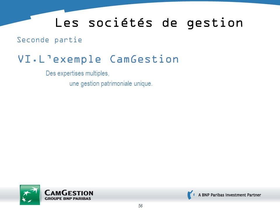 56 Les sociétés de gestion Seconde partie VI.Lexemple CamGestion Des expertises multiples, une gestion patrimoniale unique.