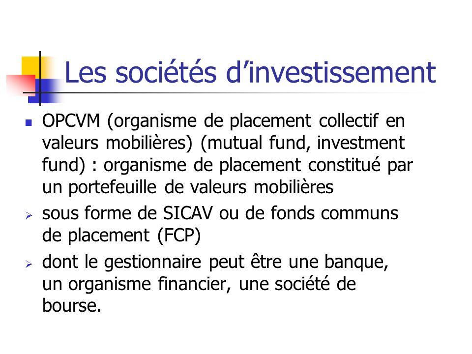 Les sociétés dinvestissement OPCVM (organisme de placement collectif en valeurs mobilières) (mutual fund, investment fund) : organisme de placement co