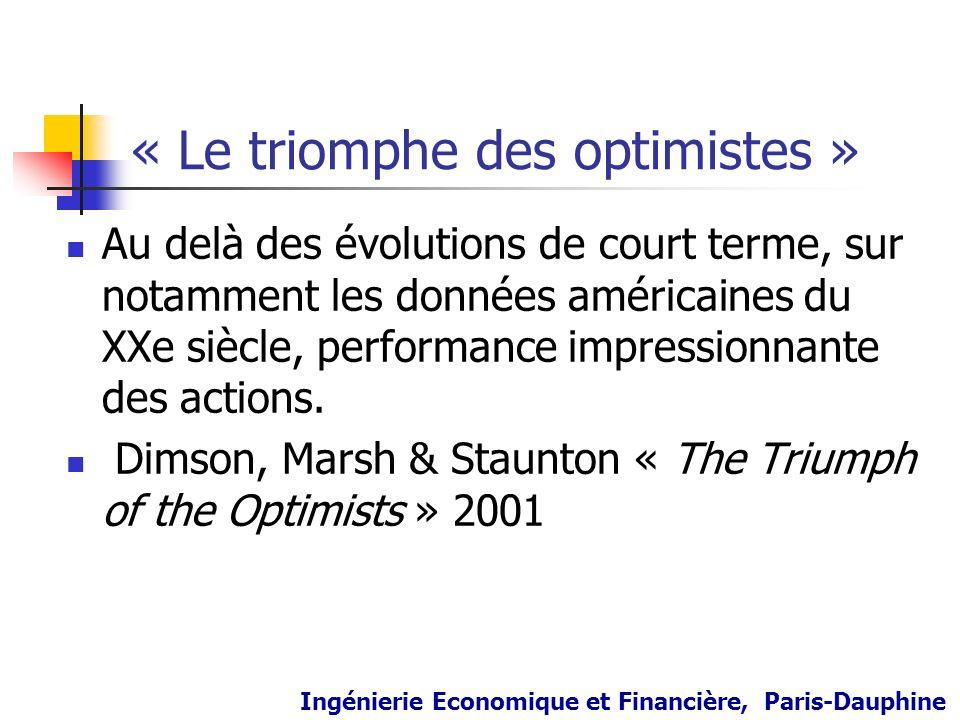 « Le triomphe des optimistes » Au delà des évolutions de court terme, sur notamment les données américaines du XXe siècle, performance impressionnante
