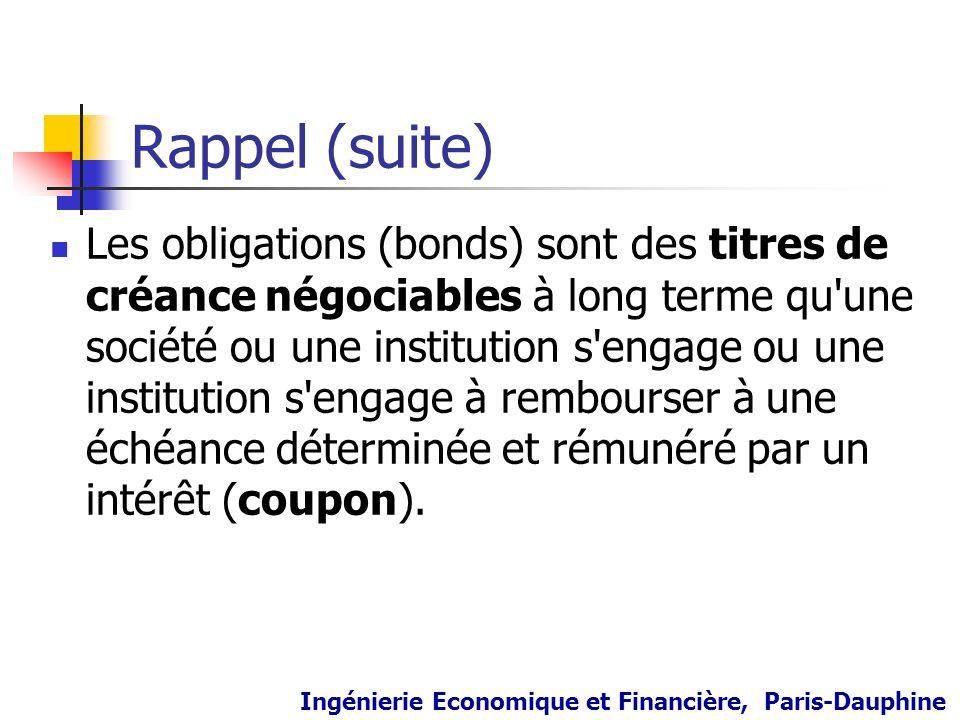 Rappel (suite) Les obligations (bonds) sont des titres de créance négociables à long terme qu'une société ou une institution s'engage ou une instituti
