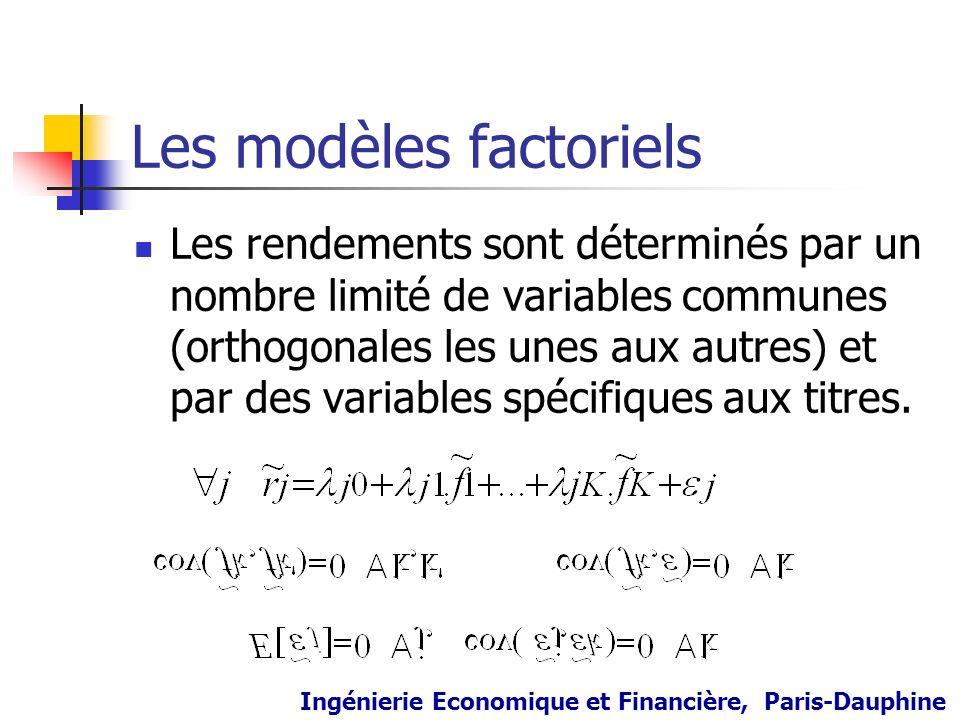 Les modèles factoriels Les rendements sont déterminés par un nombre limité de variables communes (orthogonales les unes aux autres) et par des variabl