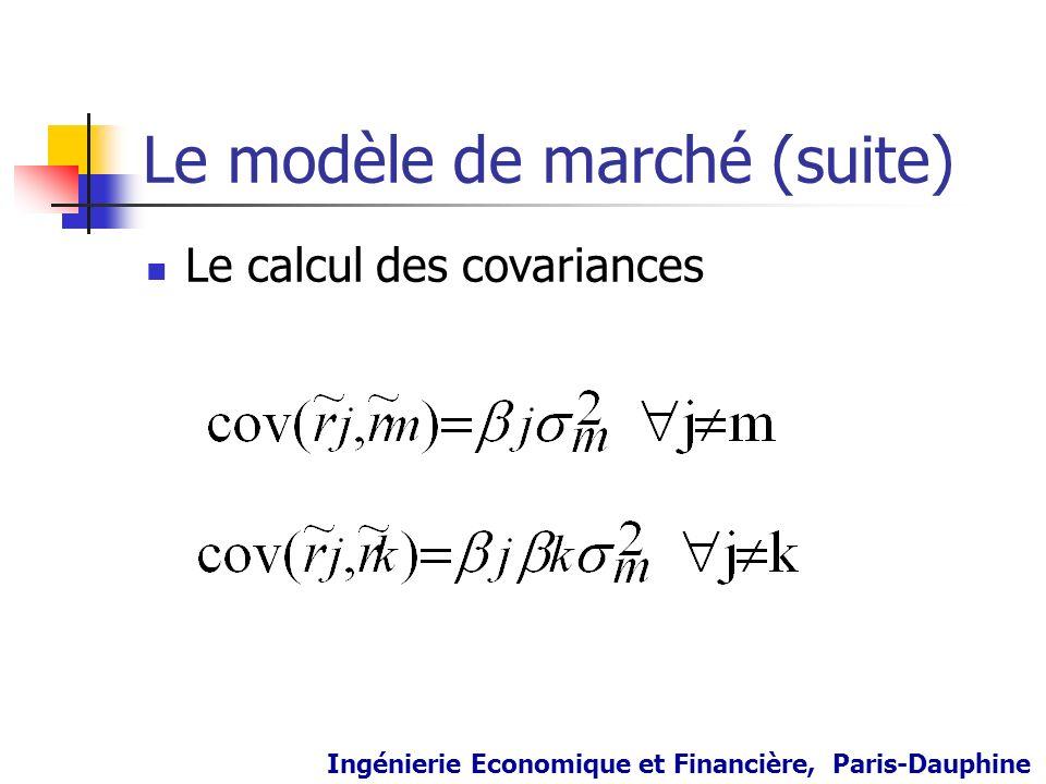 Le modèle de marché (suite) Le calcul des covariances Ingénierie Economique et Financière, Paris-Dauphine
