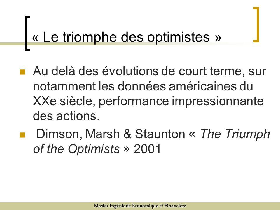 « Le triomphe des optimistes » Au delà des évolutions de court terme, sur notamment les données américaines du XXe siècle, performance impressionnante des actions.