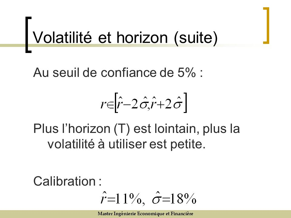 Volatilité et horizon (suite) Au seuil de confiance de 5% : Plus lhorizon (T) est lointain, plus la volatilité à utiliser est petite.