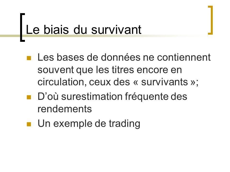 Le biais du survivant Les bases de données ne contiennent souvent que les titres encore en circulation, ceux des « survivants »; Doù surestimation fréquente des rendements Un exemple de trading