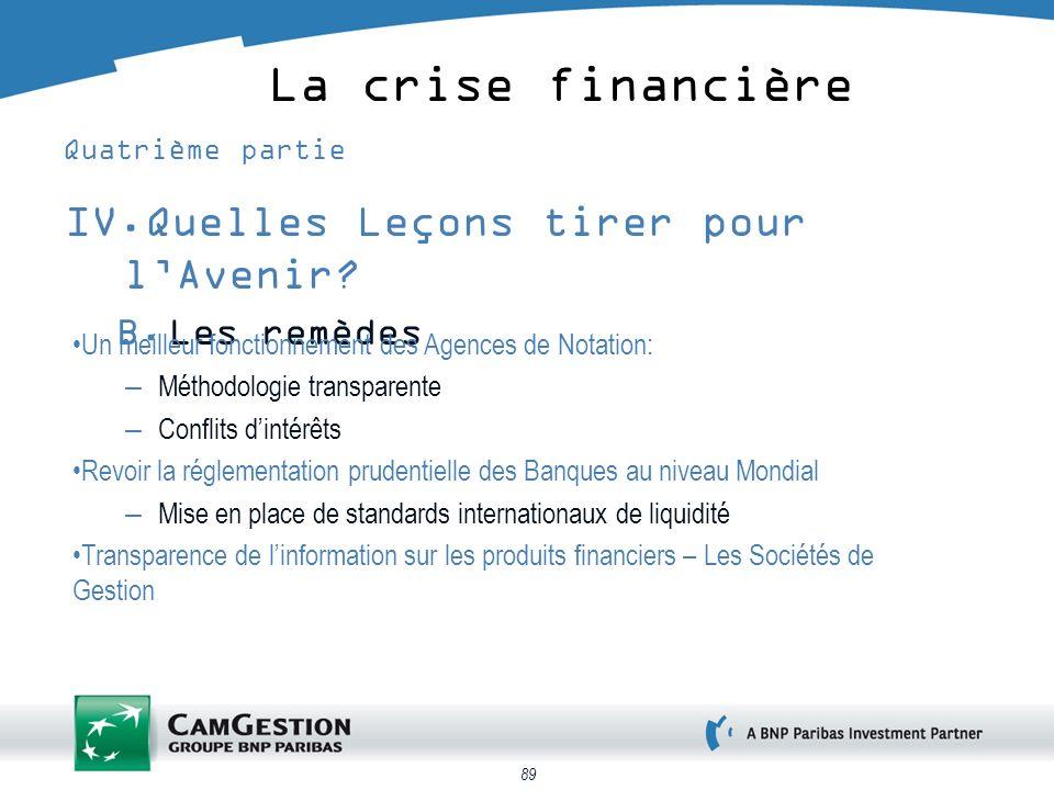 89 La crise financière Quatrième partie IV.Quelles Leçons tirer pour lAvenir.