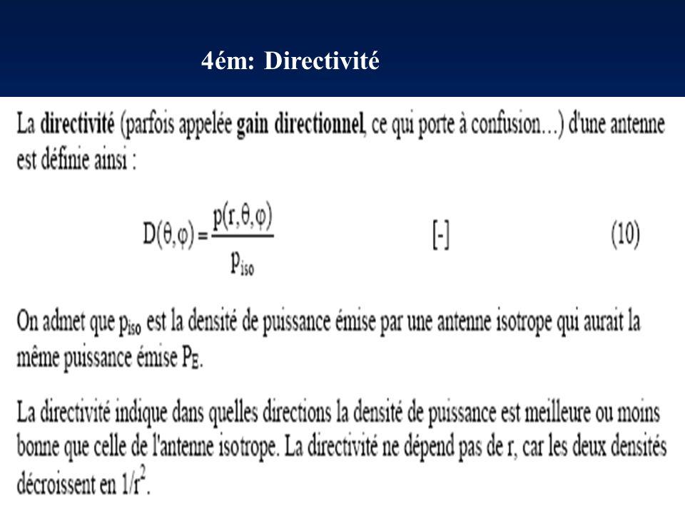 2ém: Principe de réciprocité 3ém: Antenne isotrope