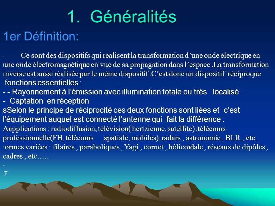 Les antennes Les antennes Sommaire: - 1 : G é n é ralit é s (introduction, definitions, applications ) - 2 : Caract é ristiques d une antenne. - 3 : L